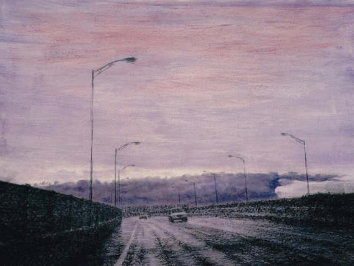 """ManNa Lee, """"Der Eintritt"""", 1997, Acryl/Kohle auf Paier,78x108cm"""