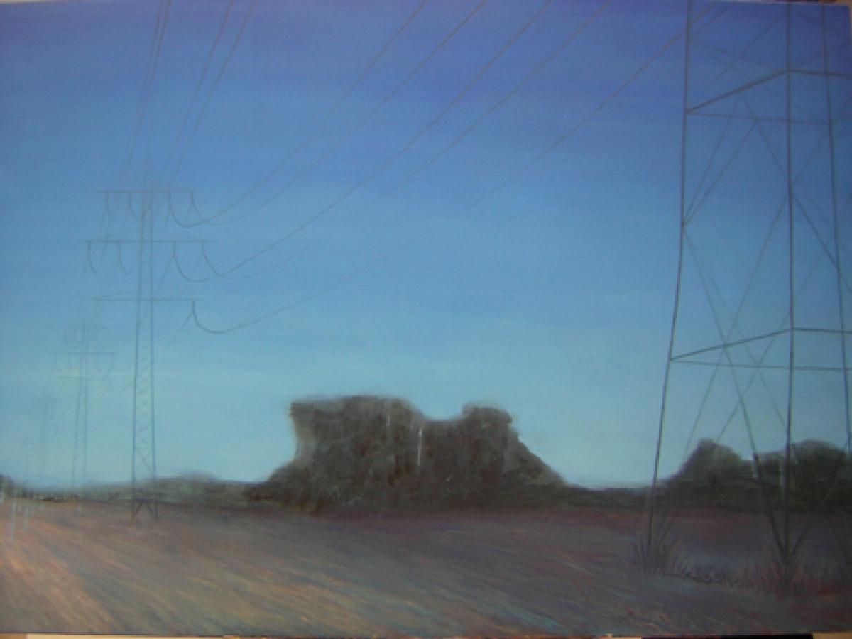 "Sophia Loth, ""Strommasten"",2007, Acryl,Öl a.Lw., 100×140"
