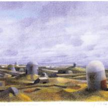 Strategische-wichtige Landschaft, Farbstiftzechning auf Karton, 1975, 60x80